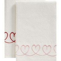 Set of 2 Valentine Dishtowels in Valentine's Day | Crate&Barrel