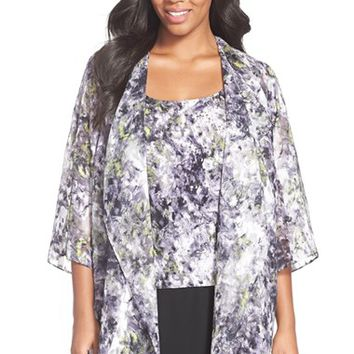 Plus Size Women's Alex Evenings Print Chiffon Twinset,