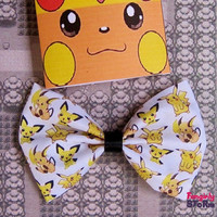 Pokemon Hair bow/ Bow tie Pichu pikachu and Raichu Evolutions Handmade unique Geeky Kawaii Gamer Bow