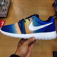 NIKE Women Men Running Sport Casual Shoes Sneakers Blue yellow