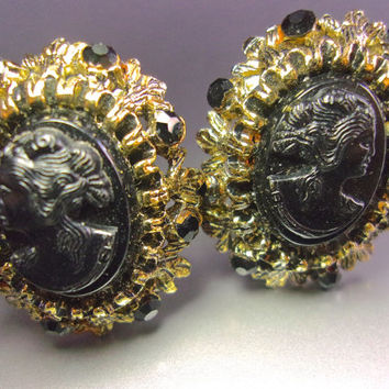 Black Resin Cameo Earrings, Victorian Revival, Antique Gold Tone, Vintage