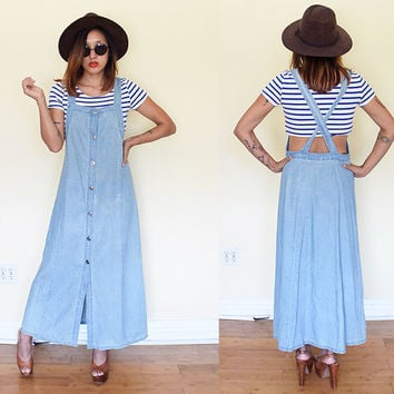 Vintage 90's denim suspender overalls button down maxi dress criss cross back light blue wash