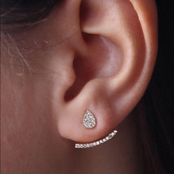 STYLEDOME 925 sterling silver 3 colors double sided pave cz ear cuff ear jaket silver earring