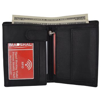 RFID Blocking Mens Hipster Hybrid Bifold Trifold Genuine Leather Wallet