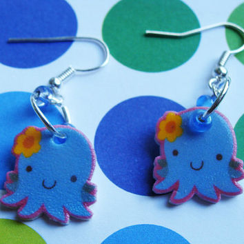 Cute Blue Flower Octopus - Hook Earrings