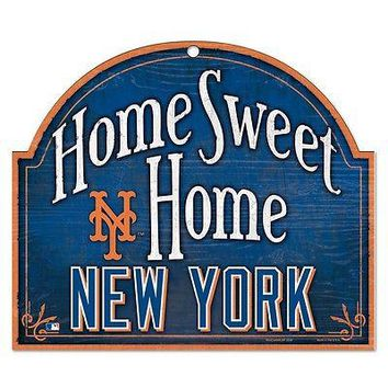 "NEW YORK METS HOME SWEET HOME ARCHED WOOD SIGN 10""x11"" BRAND NEW WINCRAFT"