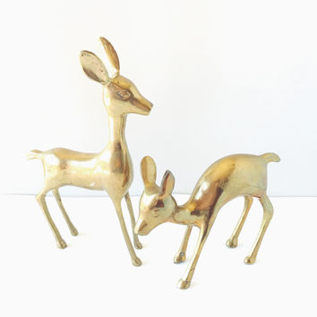 Vintage, Large, Pair, Brass Deer, Figurines, Home Decor, Nursery Decor, Whitetail Deer, Woodland Creature