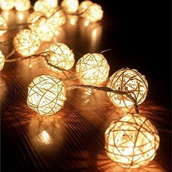 3M Storm Cream White 20 Rattan Ball Fairy Lights String Lights - Ideal for Wedding, Christmas, Party,Home Decoration [7981851719]