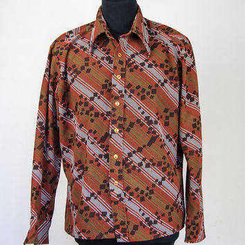 Vintage Cellini 70's Brown Orange White Striped Pattern Retro Button Down Shirt Print Groovy 60s Funky Top XL
