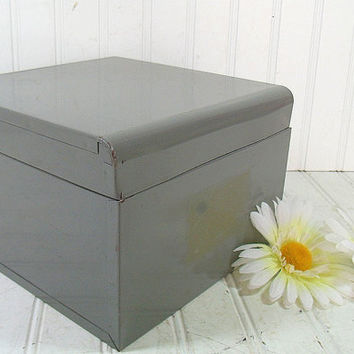 Retro Heavy Duty Large Metal File Box - Vintage Office Grey Index File - BoHo Industrial Oversized Recipe Card Holder - Lift Lid File Holder