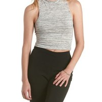 Gray Space-Dyed Mock Neck Crop Top by Charlotte Russe
