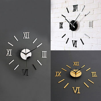 3D Acrylic Mirror Surface Roman Numerals Wall Clock Stickers Home DIY Decor