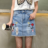 Embroidery washed denim skirt Lady cute fashion slim A-Line mini jeans skirts
