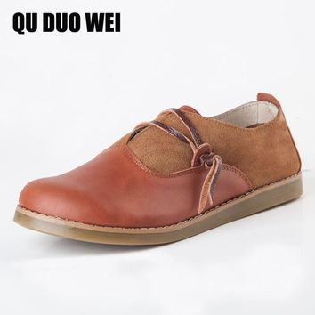 QuDuoWei Handmade Vintage Women Oxford Shoes Genuine Leather Female Moccasins Pregnant Soft Comfortable Casual Shoes Flats