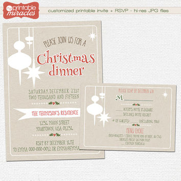 Christmas invitation, Printable kraft christmas party invitation, Digital customized christmas invitation