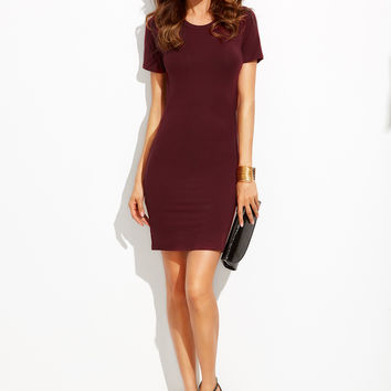 Burgundy Round Neck Crisscross Back Cutout Dress