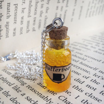 Butterbeer Bottle Necklace / Pendant / Bookmark / Earrings / Decoration / Keyring inspired by Harry Potter