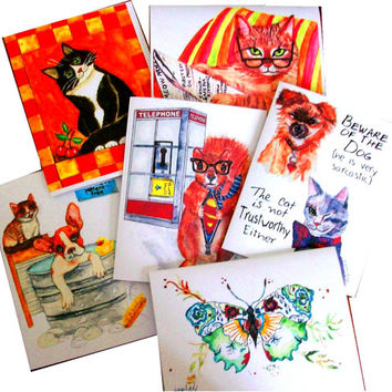 Gift Boxed Blank Greeting Cards, Set of Six, Your Choice, with Envelopes