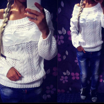 Leisure hollow out word collar sweater