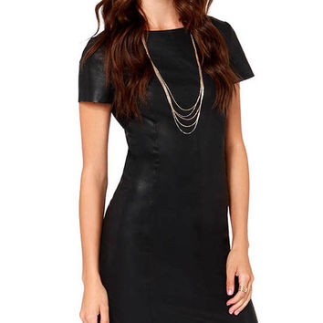 Black Short Sleeve Zip Up Back Casual Leather Mini Bodycon Dress
