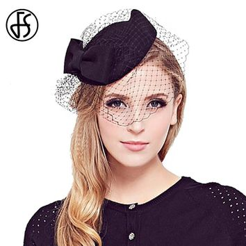 FS Vintage Bow Fedora Lady 100% Wool Fedoras With Elegant Veil Women Church Hat Nobility Wedding Fascinators Black 2017