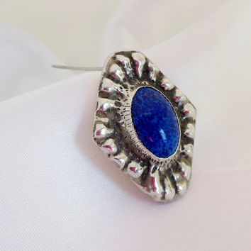 Vintage Brooch Silver and Lapis