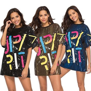 791c1891 Women Sequin T-Shirts Dress Sequined Hip Hop Bling Tees letter p. Fashion  Sport Clothing