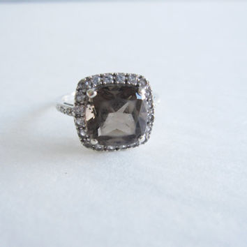 Estate 10k Cushion Cut Smokey Smoky Topaz Diamond 10 karat White Gold Engagement Ring Dainty Diamonds Something Old Wedding Bridal Jewelry
