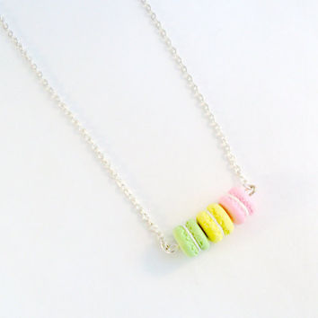 Macaron Trio Necklace, Kitsch Tiny pastel Macaroons, Cute And Kawaii :D