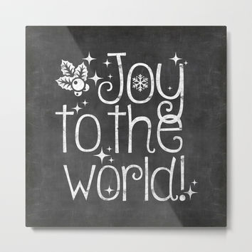 Joy to the world chalkboard christmas lettering Metal Print by lebensart