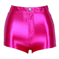 Pink Shiny High Waist Disco Hotpants