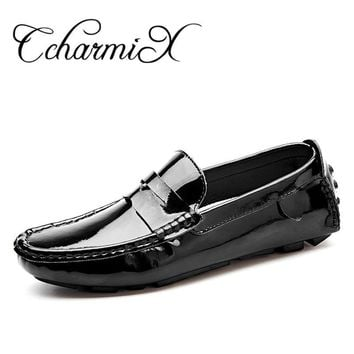 Handmade Patent Leather Men Casual Shoe Slip On Leisure Men Driving High Quality Offic