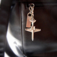 Pewter jet plane bag zipper pull or key fob, use as fob on keychain or on any zipper, unisex, fine pewter, jet plane, airline employee, grey