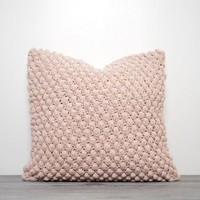 CROCHET POMPOM PILLOW - PINK