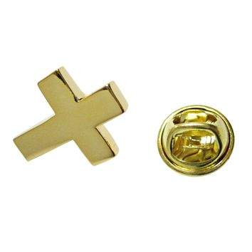 Gold Toned Thick Classic Religious Cross Lapel Pin