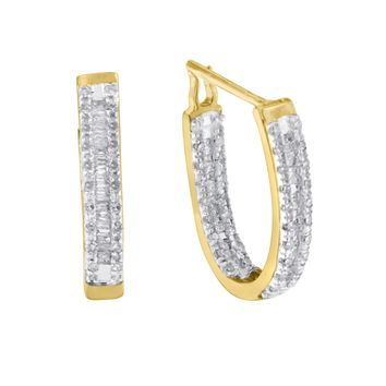 10K Yellow Gold 1 CTTW Diamond Hoop Earrings