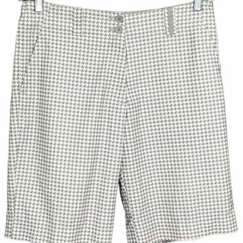 Nike Golf Fit Dry Bermuda Shorts Houndstooth Gray Tan Stretch Womens 6 - Preowned