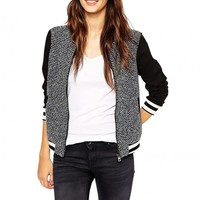 Boucle Bomber Jacket With Ribbed Details