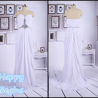 Made-to-order White Chiffon Long Bead Prom Dress