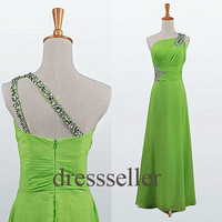 Custom Green Beaded One Shoulder Long Prom Dresses Fashion Evening Dresses Bridesmaid Dresses 2014 Formal Party Dress Formal Evening Gowns