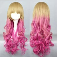 65cm Long Multi-Color Beautiful lolita wig Anime Wig,Colorful Candy Colored synthetic Hair Extension Hair piece 1pc WIG-334A