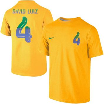 David Luiz Brazil Nike Name & Number T-Shirt - Gold