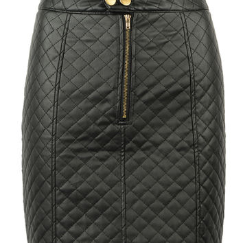 Black Front Zipper PU Skirt