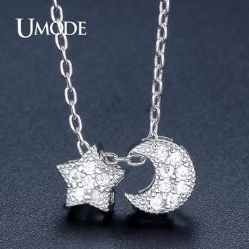 Star and Moon Necklaces  Link Chain   White Gold CZ Colar