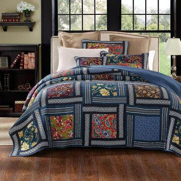 DaDa Bedding Bohemian Midnight Ocean Blue Sea Reversible Floral Real Patchwork Print Quilted Bedspread Set - Multi-Color -  2-3-Pieces (JHW-572)