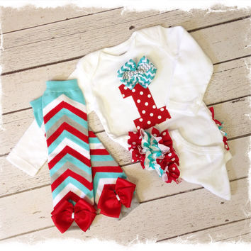 Girl 1st Birthday Outfit-Girls Ruffle Bottom Birthday Outfit ...Cakesmash Outfit...Red Aqua Chevron Birthday