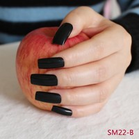 20pcs/set Black Candy Fasle Nails Shiny Flat Fake Nails Full Wraps Tips Ultra Long Press-on Nails in 10 Size R22-BL