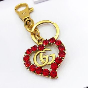 GUCCI Hot Sale Fashion Women Men Delicate Heart Red Crystal Car Key Chain And Key Holder