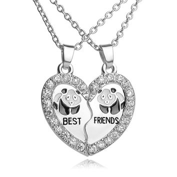 """BEST FRIENDS"" BBF 2 part Shiny Zircon Broken Heart Pendant animal panda crystal pendant Chain Necklace friendship Gift"