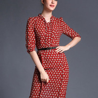 Red Half Sleeve Daisy Print Back Slit Bodycon Dress With Belt